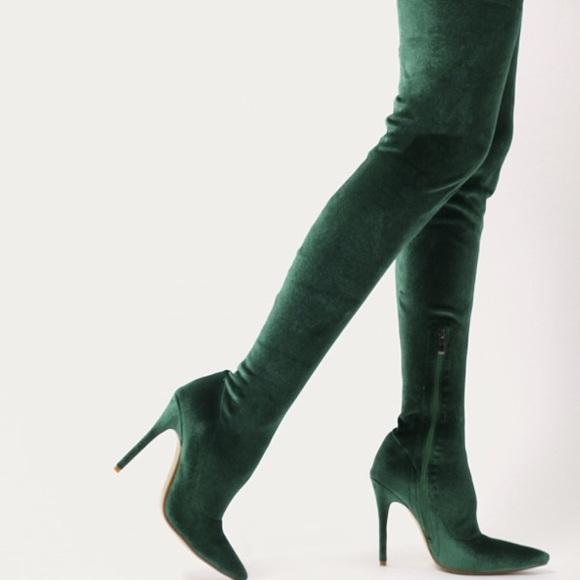 dd66d5b4b0e Public Desire green velvet knee high boots. M 5af4867da825a683dbf93493